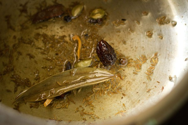 fry spices to make veg pulao recipe