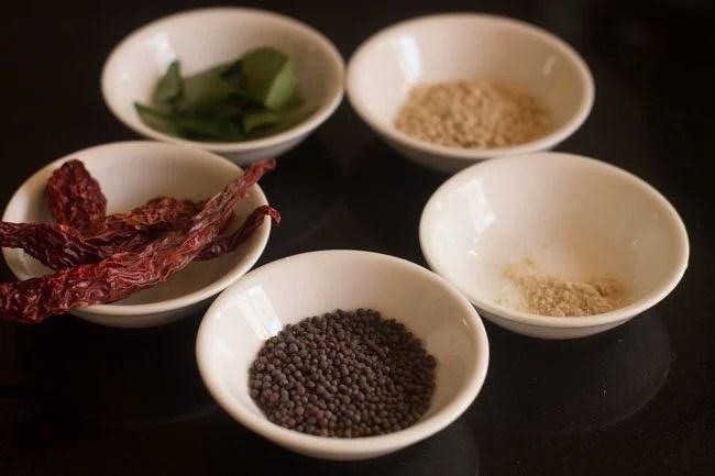 tempering ingredients for kathirikai sambar