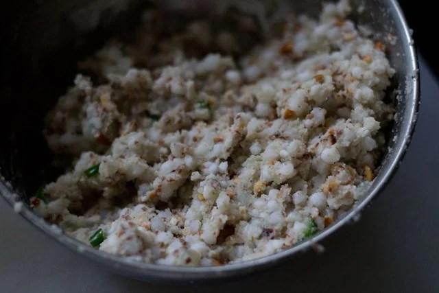 mix ingredients to make sabudana pakora recipe