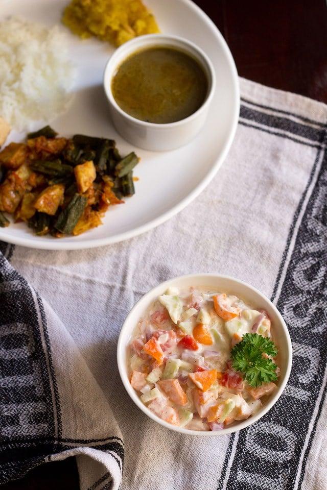vegetable raita, vegetable raita recipe