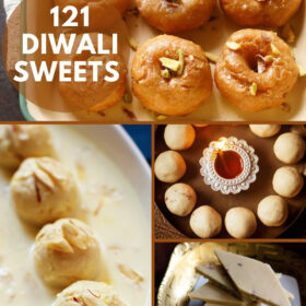 collage of four diwali sweets with text on top