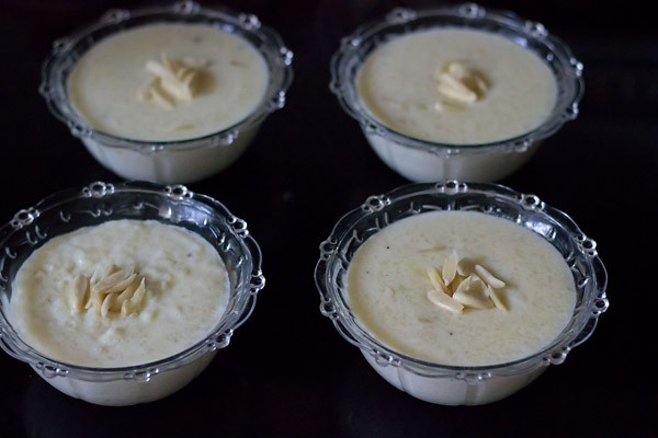 prepared phirni poured in glass bowls