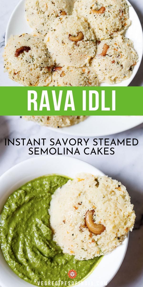 A single Rava Idli dipped partly in a bowl of coriander chutney (cilantro dip) on a white marble backdrop