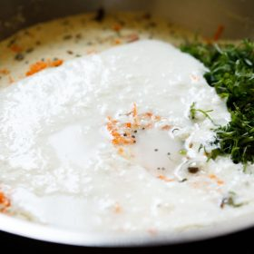 curd and water added to rava mixture