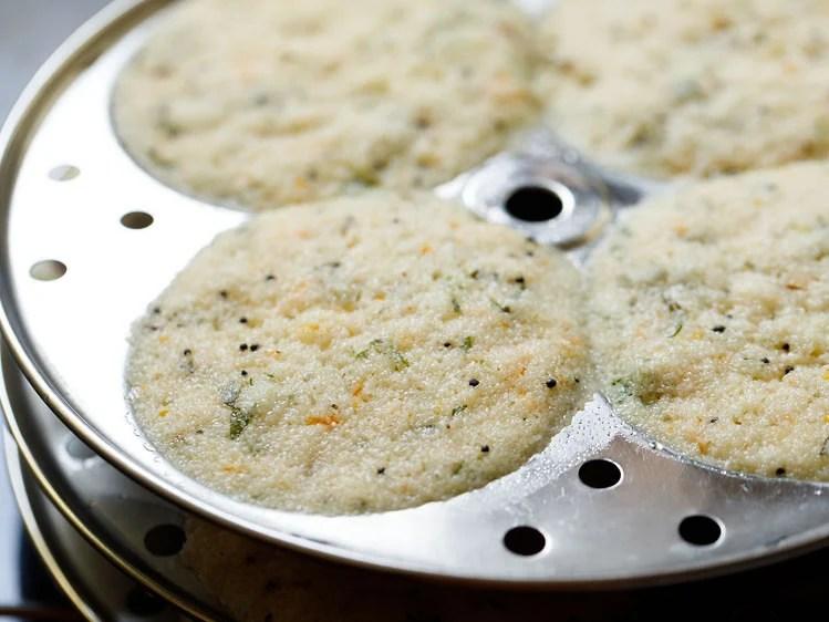 steamed rava idli in idli moulds