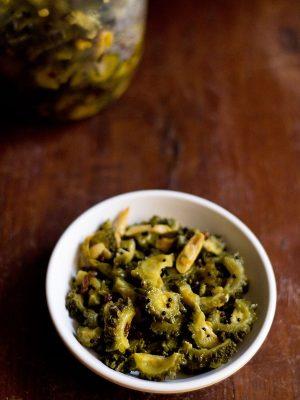 bitter gourd pickle, karela pickle