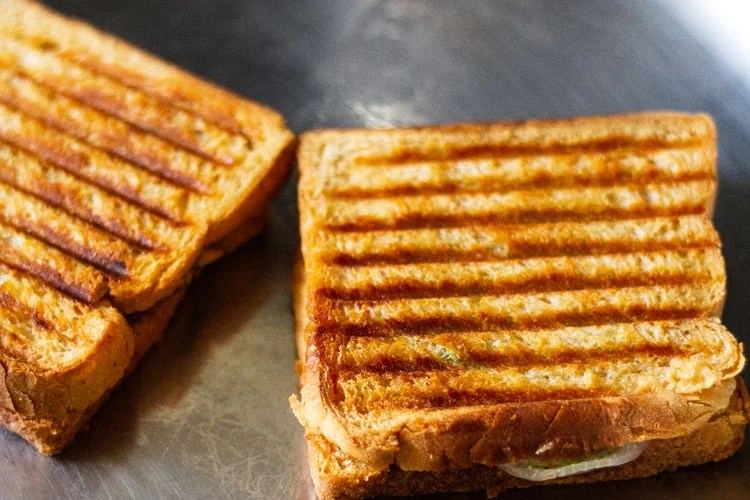 grilled sandwich ready to be done