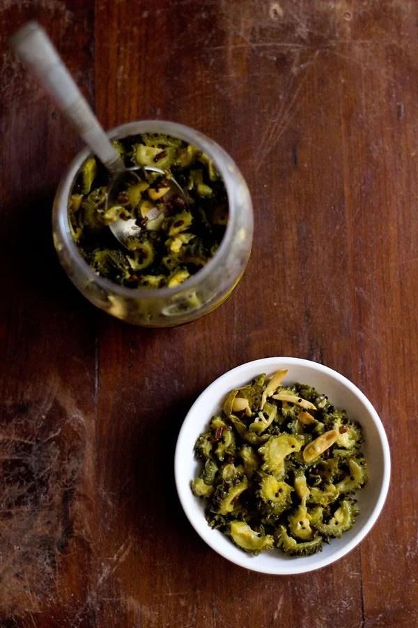bitter gourd pickle recipe, karela pickle recipe