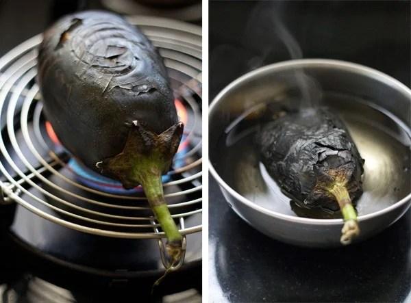 roasting eggplant baingan