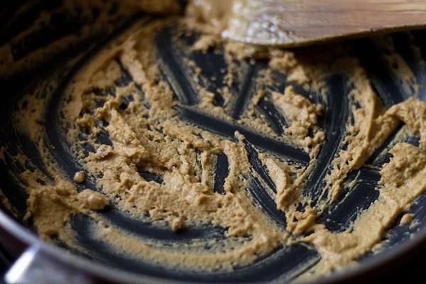 sauteing gram flour in a pan