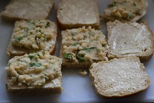 bread slices for making potato sandwich recipe