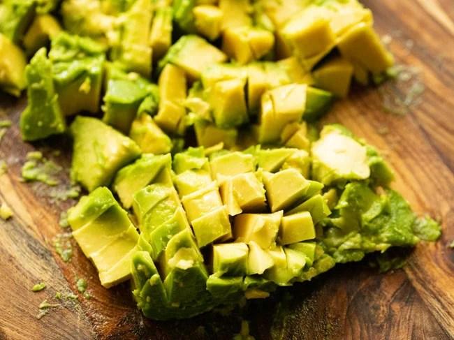 Chop the avocado pulp