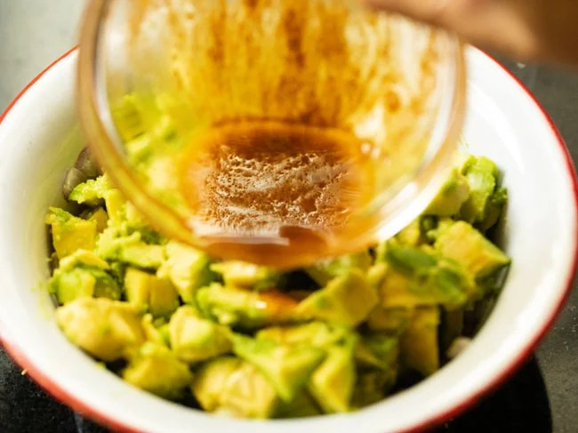 Stir and then pour the dressing