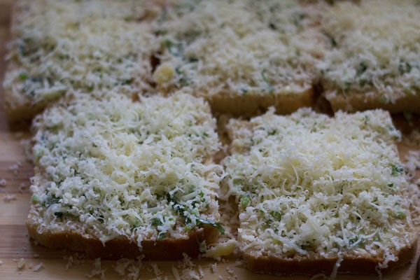 preparing cheese garlic toast recipe