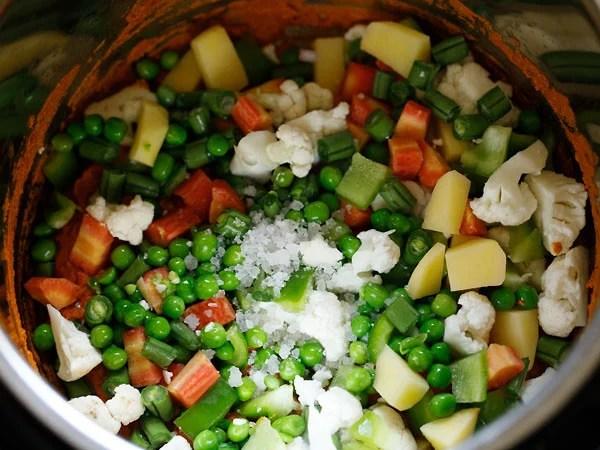 added diced vegetables and salt