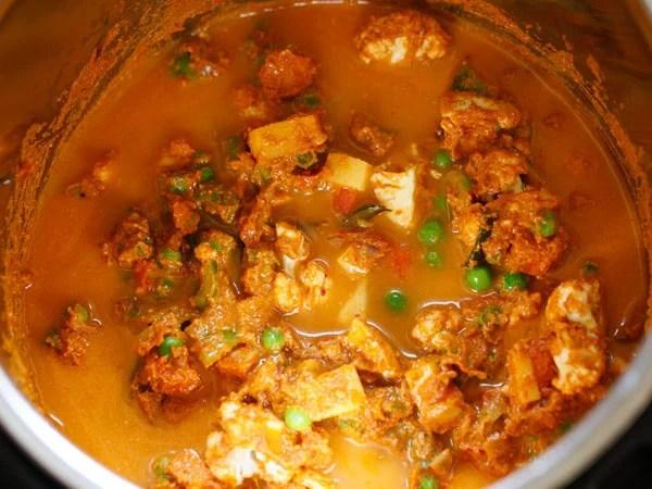 masala paste mixed water added to veggies