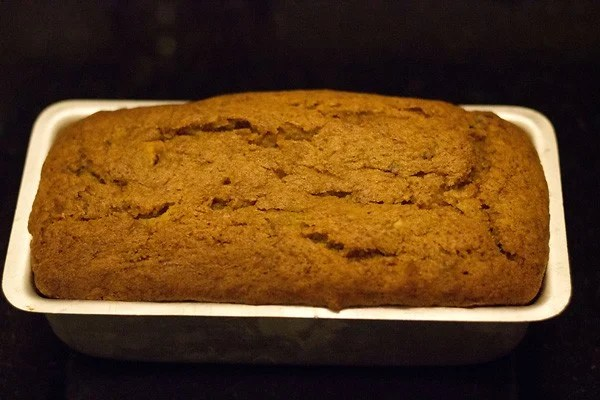 Baked banana cake in baking dish