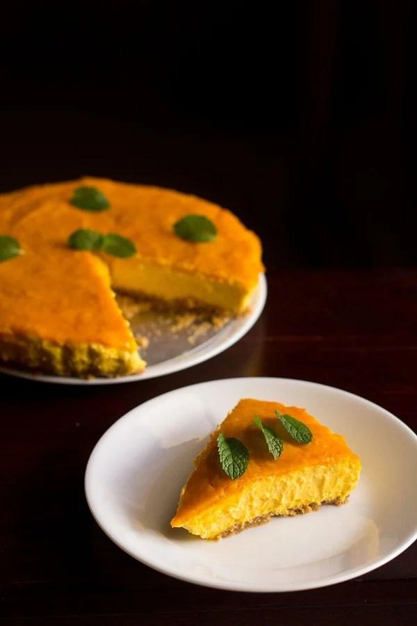 eggless mango cheese cake recipe