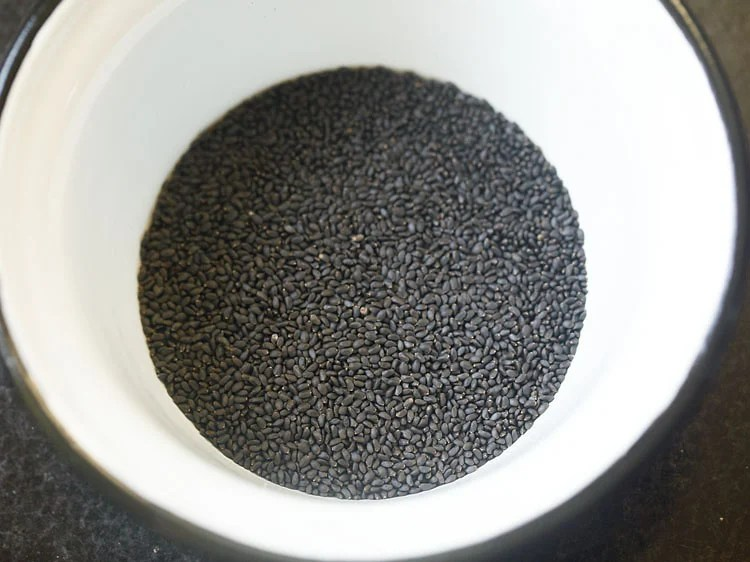 sweet basil seeds or sabja seeds in a bowl