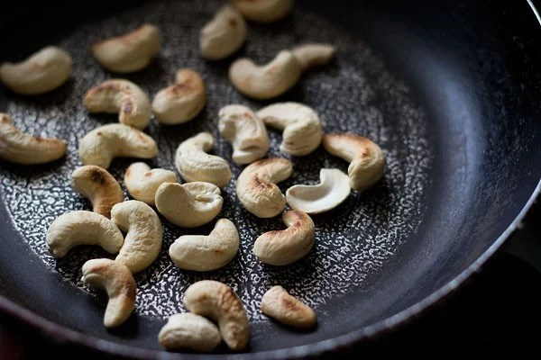 dry roast cashews for making masala bhat recipe