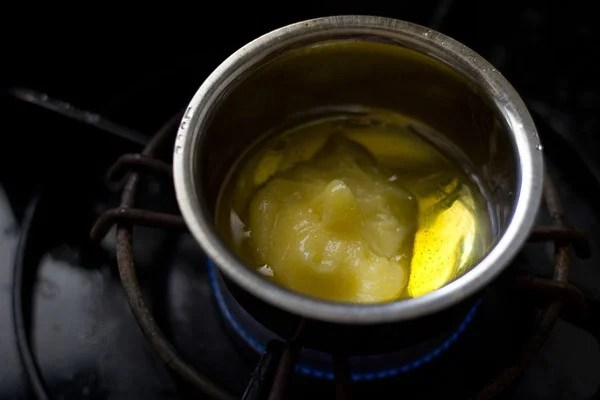 heat ghee in a bowl