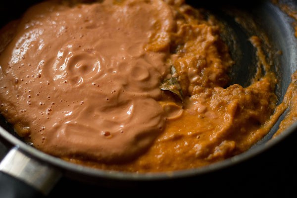 adding tomato-cashew paste