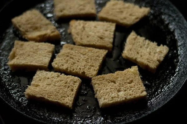 roast bread - making shahi tukda recipe