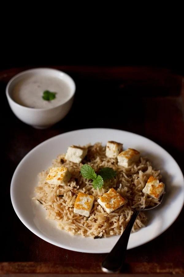 paneer pulao recipe, paneer rice