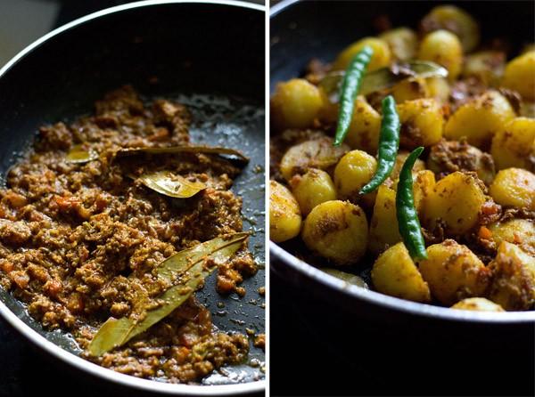 adding spices for Banarasi dum aloo