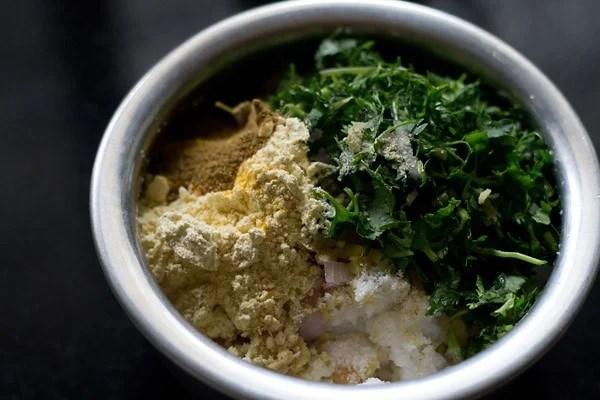 mix ingredients for making rice pakoras