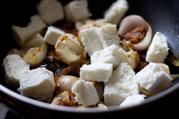 paneer cubes added in the pan