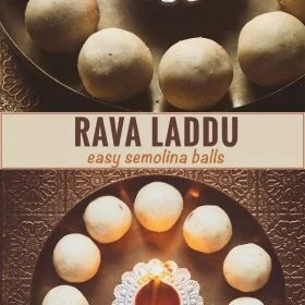 collage of rava laddu recipe