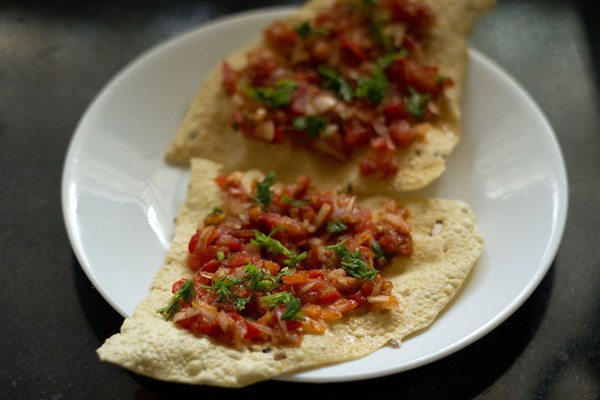add coriander leaves to masala papad recipe