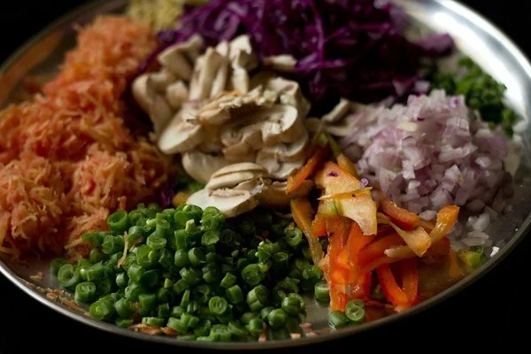 chopped veggies for veg chowmein noodles recipe