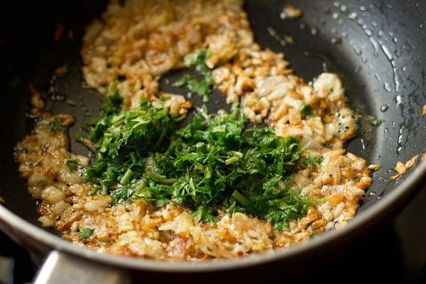 add coriander - making veg kolhapuri recipe