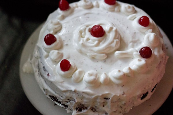 cherries on eggless black forest cake recipe