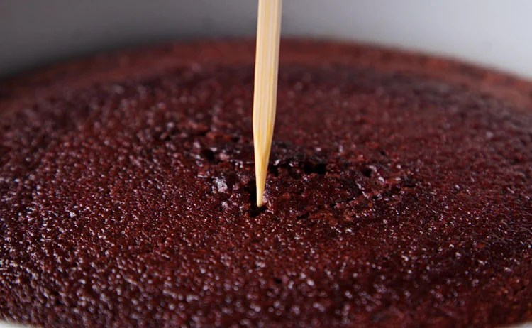 testing eggless chocolate cake with bamboo skewer