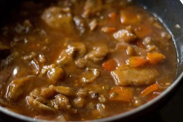 stir mushroom manchurian gravy recipe