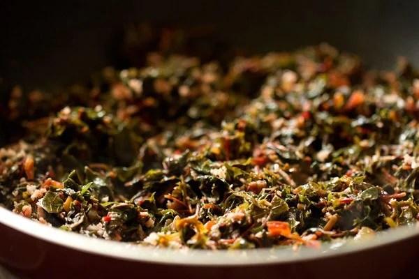 stir tambdi bhaji recipe