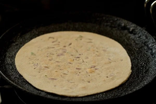 cooking cheese paratha
