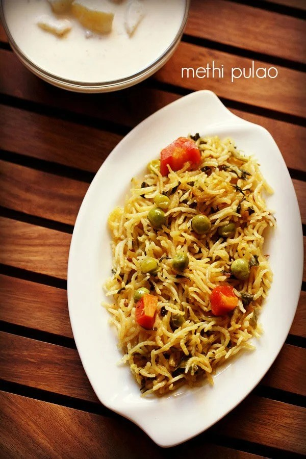 methi pulao, methi rice