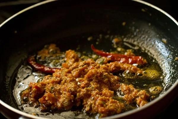 sauteing - making achari paneer masala recipe