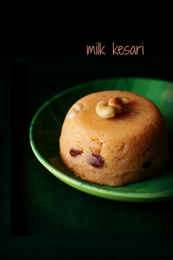 milk kesari recipe, milk kesari