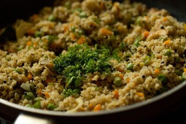 coriander for oats upma recipe