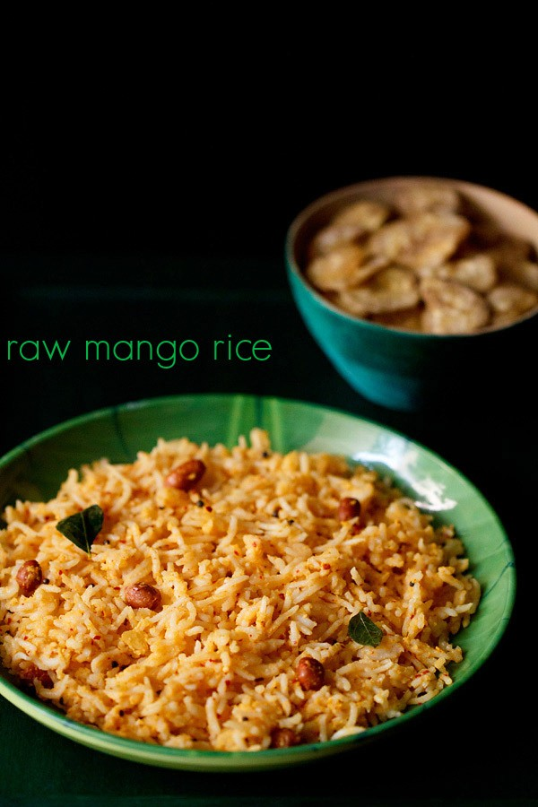 mango rice recipe, raw mango rice recipe, mavinkayi chitranna recipe