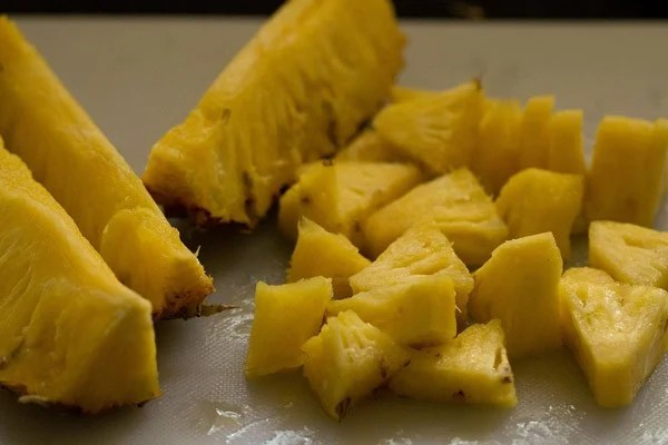 chopped pineapple for virgin pina colada recipe