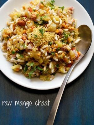 raw mango chaat, raw mango bhel, mango chaat