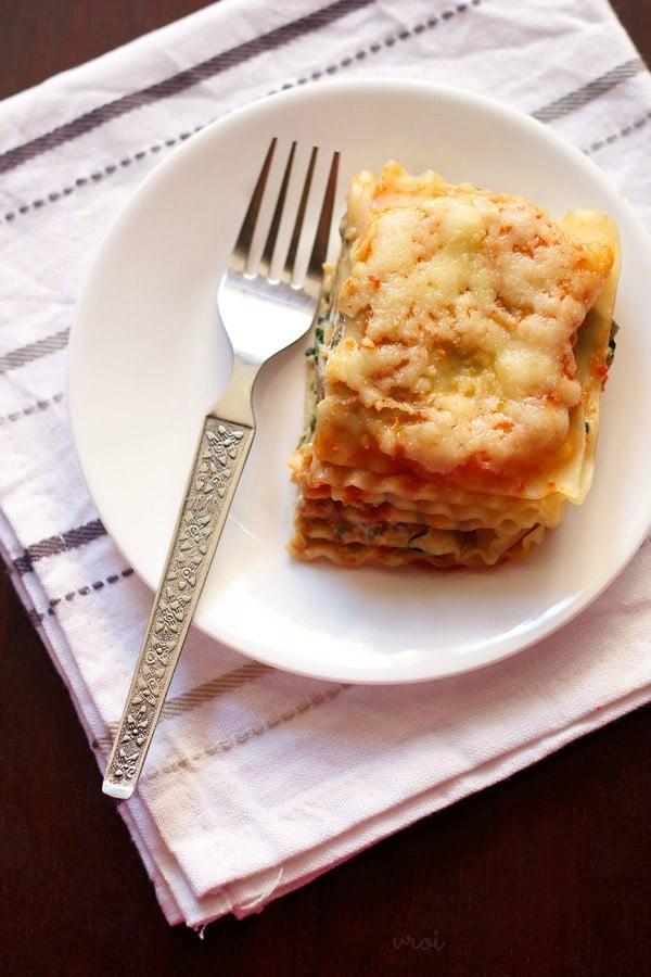 spinach mushroom lasagna recipe  veg spinach mushroom lasagna