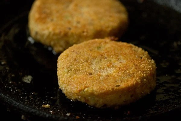 frying patties for making veg burger recipe