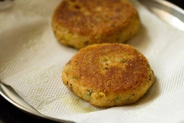 veg patties on kitchen paper towels